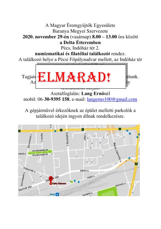 Pécs Delta Étterem 2020.11.29-i találkozó – ELMARAD!